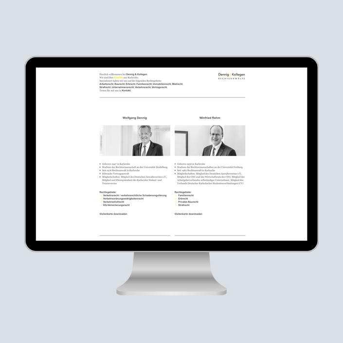 Dennig & Kollegen Website Desktop Navigation