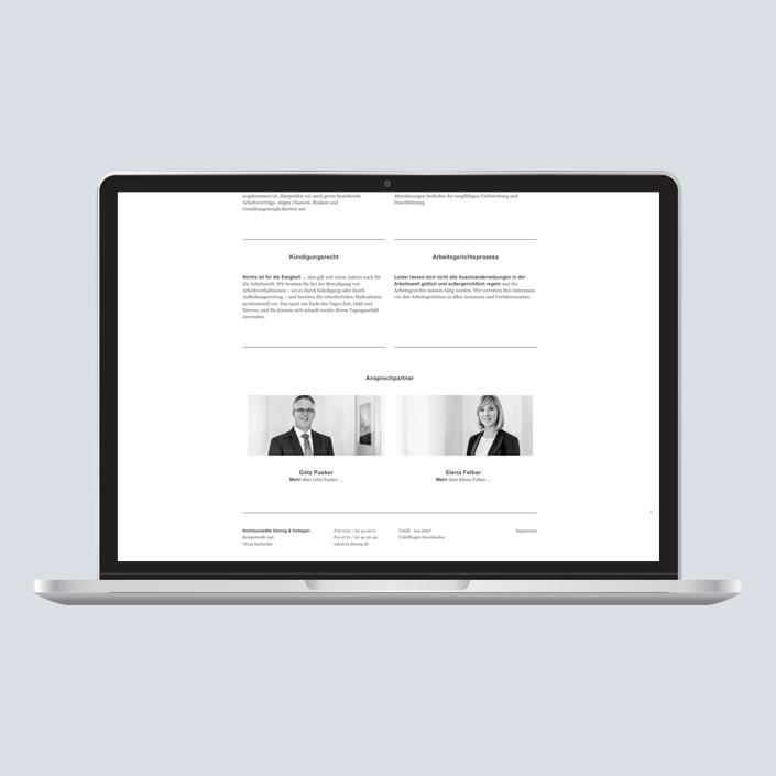 Dennig & Kollegen Website Desktop Ansprechpartner