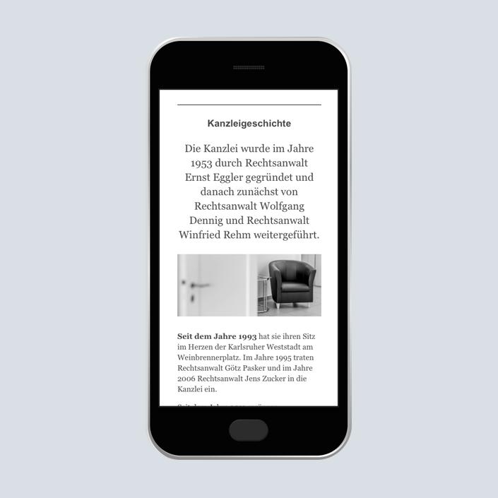 Dennig & Kollegen Website mobile Kanzleigeschichte