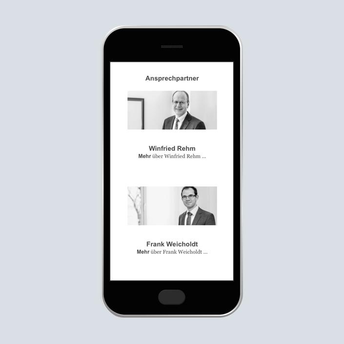 Dennig & Kollegen Website mobile Ansprechpartner