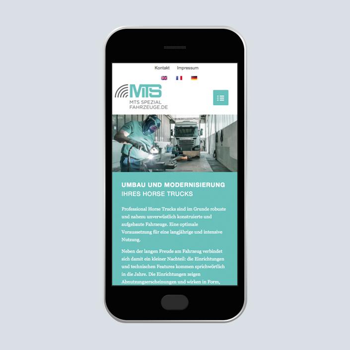 MTS Fahrzeugbau Website mobile