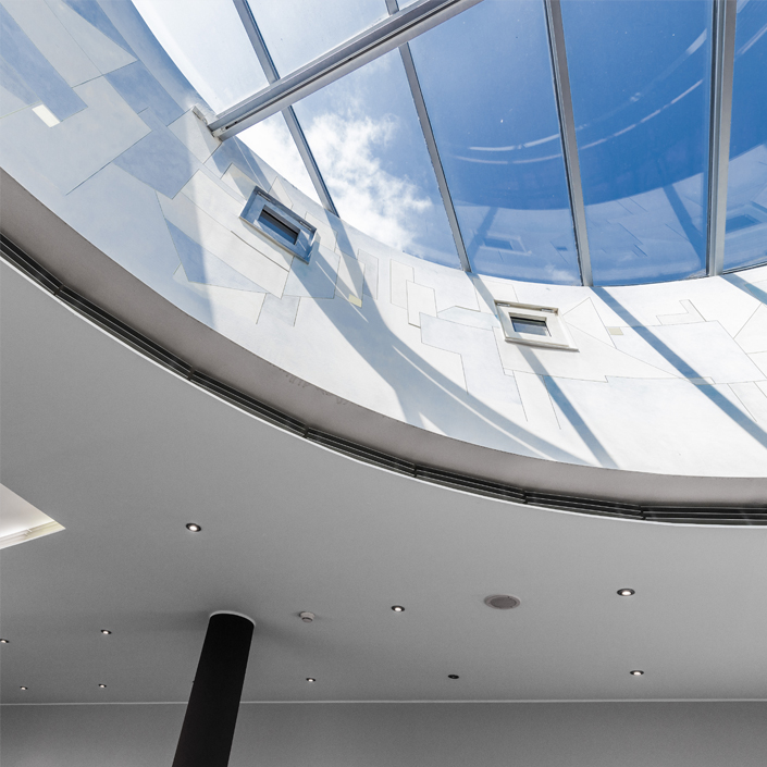 Vitrum 128 Motiv Glasskuppe Lobby