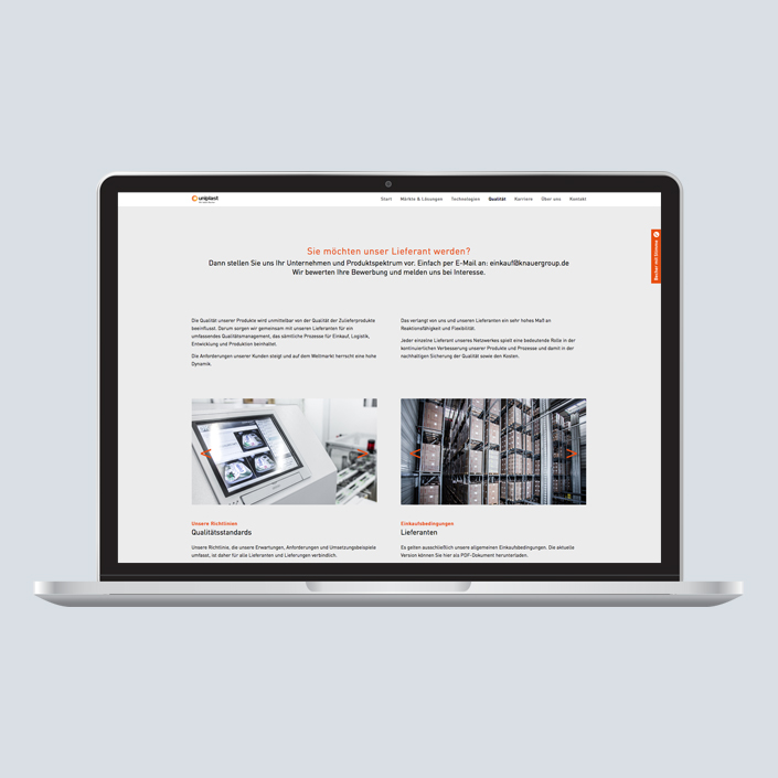 uniplast Website Desktop Layout