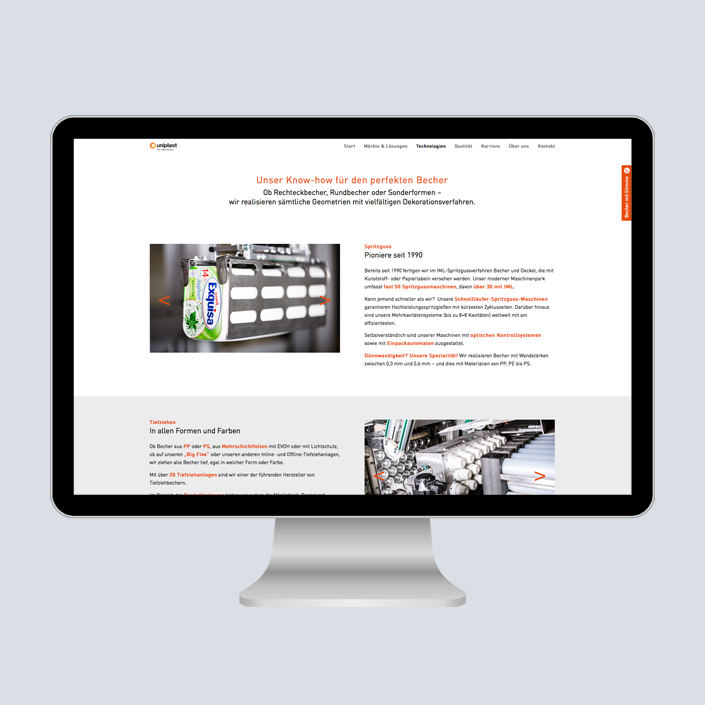 uniplast Website Desktop content