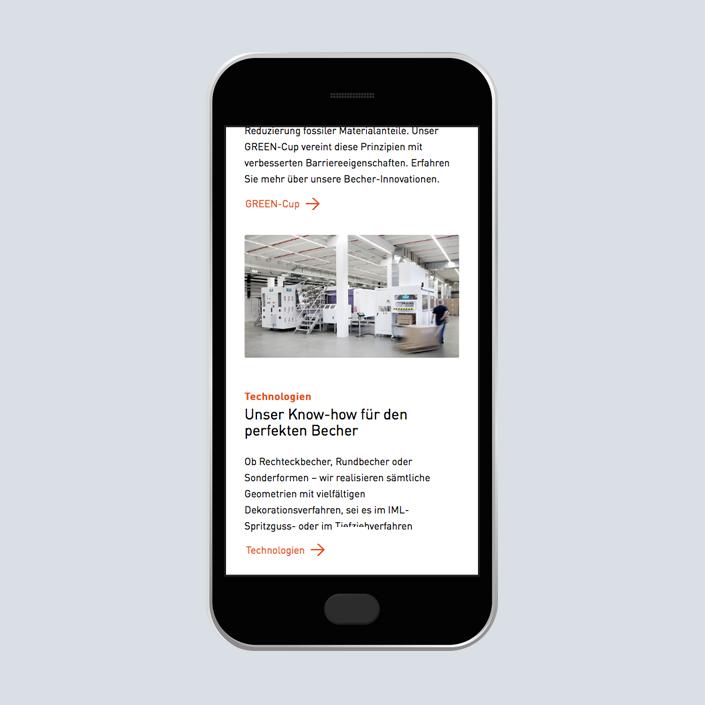 uniplast Website Erscheinungsbild mobile Inhalt