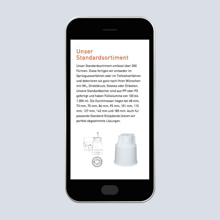 uniplast Website Erscheinungsbild mobile