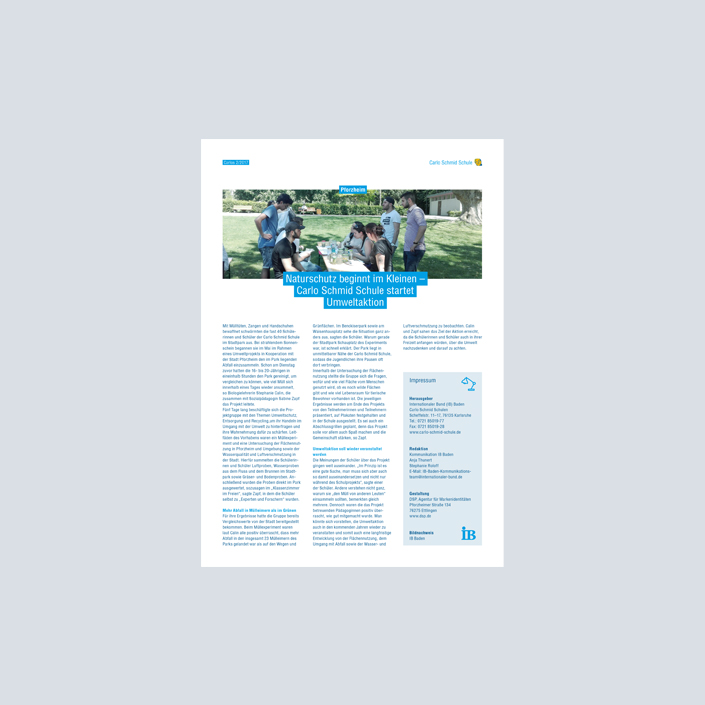 Carlo Schmid Schule Print Newsletter Carlos