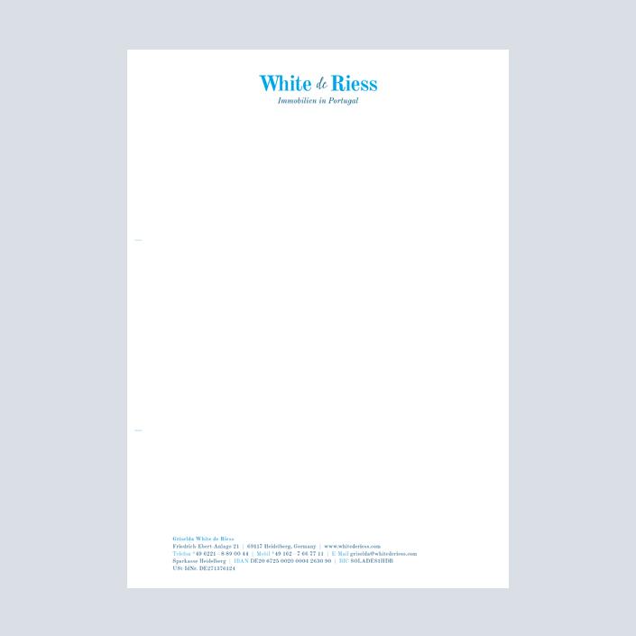 White de Riess Briefbogen