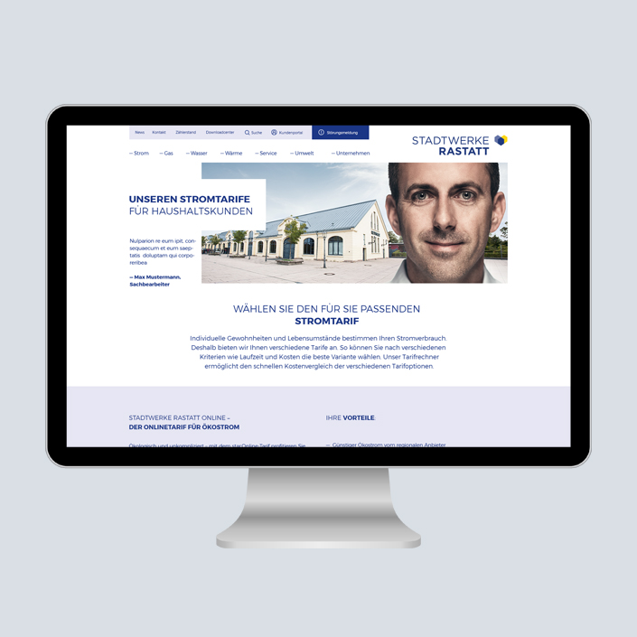 Stadtwerke Rastatt Website
